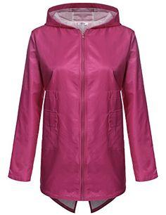 Meaneor Women's Outdoor Waterproof Raincoat Hooded Zipper Jacket Pink XL