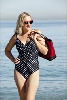 Crossover One Piece black and white polka. One - Piece Swimwear