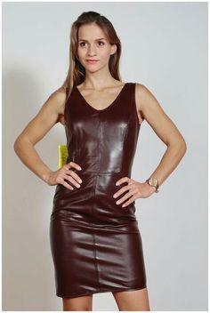 Burgundy leather tank dress