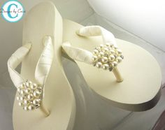 Ivory Wedge Bridal Flip Flops Rhinestone Satin by BridalFlipFlops Bride Flip Flops, Bridesmaid Flip Flops, Bow Flip Flops, Cute Flip Flops, Wedding Flip Flops, Bling Wedding, Rhinestone Wedding, Wedding Bride, Wedding Shoes