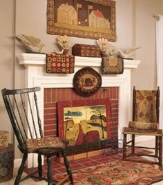 Hearth-warming Style: For a three-dimensional display idea, hang a hooked rug over the fireplace instead of a piece of framed art. Add a burst of colorful character to a white mantel with a pair of small rugs or appliquéd place mats. Arrange a pair of dining chairs by the hearth and add intricately patterned chair pads for more graphic appeal. This room was featured in the September 2005 issue of Country Sampler Magazine. Photographed by Jessie Walker. Styled by Pilar Simon