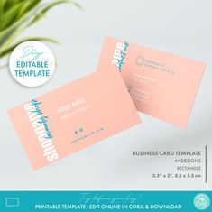 Editable Pastel Business Card Template Printable Elegant | Etsy