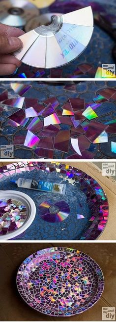 Mosaic Tile Birdbath using Recycled DVDs. I think this would be cool for my kit hen table (get rid of the nasty old blue tiles) -How cool!