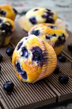Making these bakery style blueberry muffins is so easy! Prepare a thick batter loaded with blueberries, fill in the liners to the top and bake. These are extremely tender and moist, so they are highly addictive!