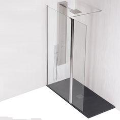 MAMPARA DUCHA IJO + PUERTA.  Preciosa mampara de ducha de cristal templado 8 mm. para duchas modernas y sin perfiles.