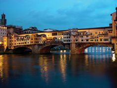 Ponte Vecchio Florence by night  Ponte Vecchio (old bridge) is a Medieval bridge over the Arno River, in Florence.
