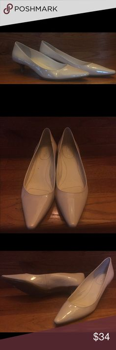 "CALVIN KLINE CALVIN KLEIN - Diema Pointed-Toe Pumps; 8.5M;Color: Beige(light pink)  A classic for any occasion; sophisticated kitten-heel pump, featuring hidden gel pod for comfort  & logo-embossed rand at the back; 1 3/4"" heel;Leather upper. Calvin Klein Shoes Heels"