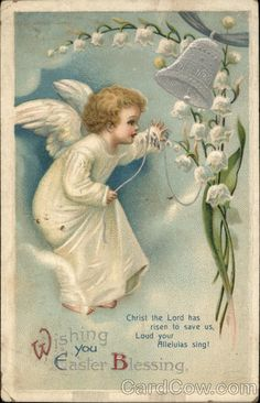 """Wishing you Easter Blessing Ellen Clapsaddle With Angels Stamp: 1c Postmark/Cancel: 1911 Apr-15  Stamford, CTSize:3.5"""" x 5.5"""" (9 x 14 cm)Other Categories:Artist Signed -> Ellen Clapsaddle"""