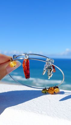 Bangle Bracelet With Baltic Amber Charm, Stainless Steel Bracelet, Amber Jewelry, Amber Bracelets