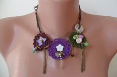 Crochet Necklace with Lace and Fabric Flowers  by SwedishShop, $29.90