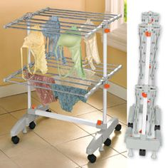 Laundry Drying Rack, Wheeled Drying Rack, Folding Clothes Drying Rack | Solutions