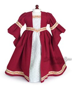 Burgundy Renaissance Dress Gown Costume for American Girl Doll Clothes Halloween