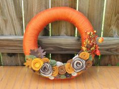 Bright Pumpkin Patch Wreath- Fall Wreath--Autumn Wreath--Thanksgiving Wreath- Fall Decor- Fall Decoration- Yarn Felt Flower Wreath on Etsy, $39.94 AUD