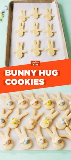 Bunny Hug Cookies are the fun Easter craft you can actually eat. Get the recipe at Delish.com. #recipe #easyrecipe #baking #cookie #cookieart #kidsactivities #easter #bunny #dessertrecipes #kids #kidfriendly #cookies