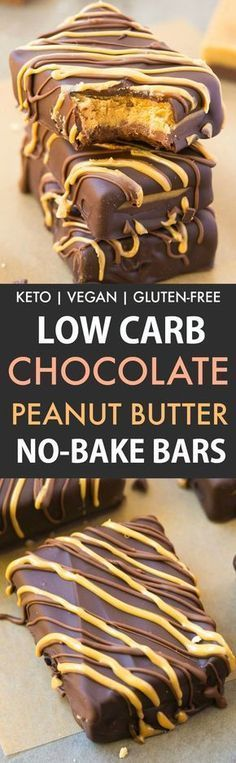 Low Carb No Bake Chocolate Peanut Butter Bars (Keto, Vegan, Sugar Free, Gluten Free)- Easy and healthy bars which taste just like a Reese's Peanut Butter Cup but made completely sugar-free! The perfect snack or dessert. (easy chocolate desserts no bake) Peanut Butter No Bake, Peanut Butter Chocolate Bars, Low Carb Chocolate, Chocolate Deserts, Low Carb Desserts, Vegan Desserts, Low Carb Recipes, Dessert Recipes, Healthy Recipes