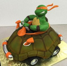 A go cart/ninja turtle theme party and a client giving me complete creative freedom. Ninja Turtle Birthday Cake, Ninja Turtle Party, Couple Halloween Costumes For Adults, Couple Costumes, Pirate Costumes, Group Costumes, Adult Costumes, Ninja Turtle Pumpkin, Tmnt Cake
