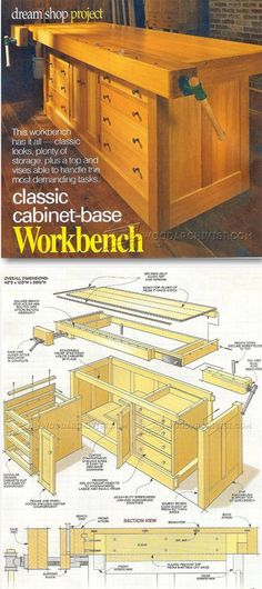 Classic Workbench Plans - Workshop Solutions Plans Tips and Tricks Workbench Plans, Woodworking Workbench, Woodworking Tips, Woodworking Furniture Plans, Woodworking Projects That Sell, Garage Workshop, Workshop Ideas, Intarsia Wood, Planer