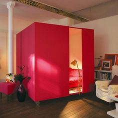 Rolling Bed Cube by ducotedechezvous: Tame a loft with a mobile bedroom. PDF included. #Bed_Cube #ducotedechezvous