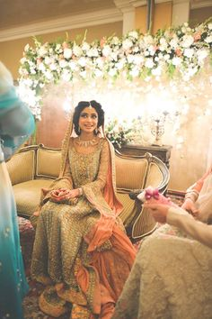 salmon and cream! beautiful pakistani bride
