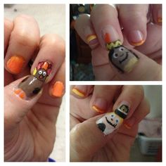 Thanksgiving Day nail art. Turkey, pilgrim, Indian girl. check out www.MyNailPolishObsession.com for more nail art ideas. Thanksgiving Nail Art, Fall Nail Art, Pilgrim, Indian Girls, Sunflowers, Art Ideas, Nail Designs, Turkey, Check