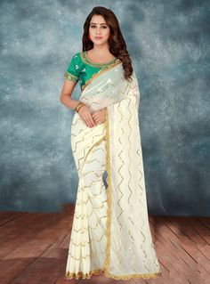 a50ece307488e Buy Off White Georgette Saree With Blouse 140257 with blouse online at  lowest price from vast collection of sarees at Indianclothstore.com.