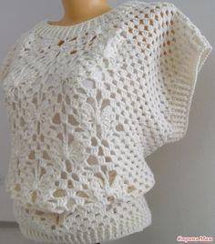 "A warm waistcoat is an overweight ""Butterfly"" Crochet Shirt, Crochet Jacket, Knit Crochet, Cable Knitting, Designs For Dresses, Crochet Baby Clothes, Filet Crochet, Top Pattern, Knitted Hats"