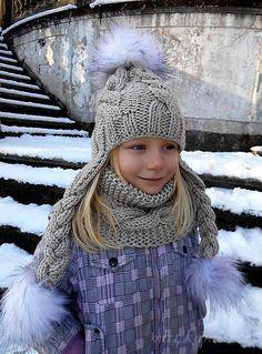 Детская шапочка с ушками спицами