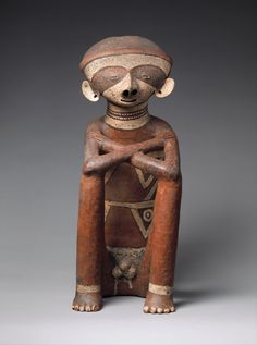 Seated Male Figure Date: 2nd–4th century Geography: Mexico, Nayarit Culture: Nayarit (Chinesco) - Ceramic