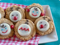 White Chocolate Peanut Butter Cup Christmas Cookies - reindeer, carolers, and Christmas ornaments. ADORABLE!! @bridget edwards {bake at 350}