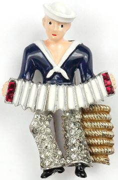 Calvaire WW2 US Patriotic Sailor Playing an Accordion Sitting on a Coil of Rope Pin Clip