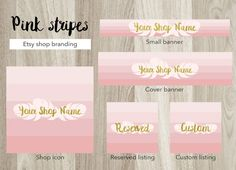 Etsy shop banner set, feathers cover banner, pink and gold shop banner, premade stripes banner set, feathers shop banner, gold text graphic by GiuliaBelfioriGadget