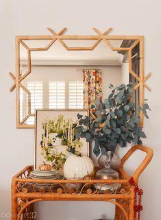 Serena and Lily Lanai Mirror- gorgeous subtle fall bar cart vignette
