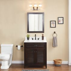 Scott Living Kinston Mocha Single Sink Vanity With White Engineered Stone Top Common