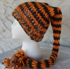 Brown and Orange Crocheted Elf Hat by AngelsWool on Etsy