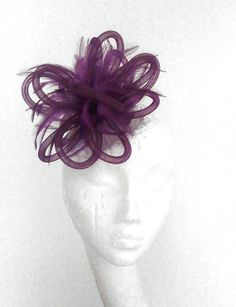 Plum Fascinator hat for Kentucky Derby Weddings by Hatsbycressida, $60.00