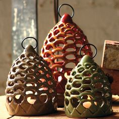 Pine-cone Lanterns, Set of 3 made by Charming Accessories For Any Space. Ceramic Studio, Ceramic Clay, Ceramic Pottery, Ceramics Projects, Clay Projects, Chandeliers, Ceramic Lantern, Lantern Set, Play Clay