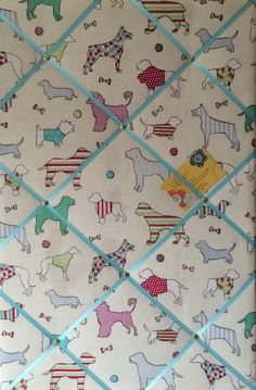 Large 60x40cm Vertical Woof Dogs Turquoise Hand Crafted Fabric Memory / Notice / Pin / Memo Board