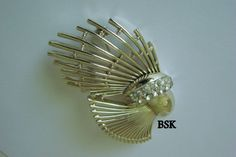 Large 60s70s Vintage BSK Rhinestone Brooch Unique by JoysShop, $15.95