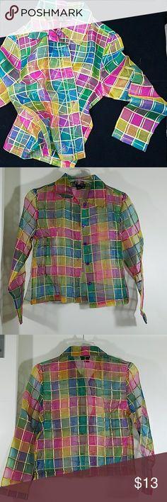 100% Silk •sheer• by JEEVAN 32-36 bust 20 length  22 sleeve JEEVAN Tops