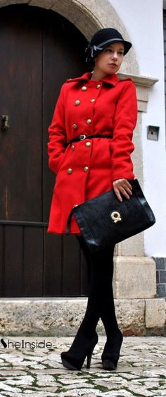 #SheInside Red Lapel Long Sleeve Double Breasted Pockets Coat - Sheinside.com