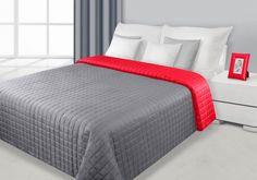 Červeno-sivý prehoz Eva je dostupný v 4 rozmeroch: 70x150, 170x210, 220x240 alebo 230x260 cm.