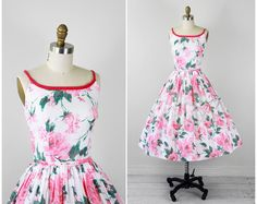 1950s dress / 50s floral dress / White and Pink Floral Watercolor Roses Sundress with Matching Jacket and Belt