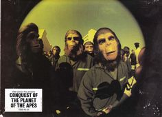Afiche publicitario para Conquest of the Planet of the Apes, 1972
