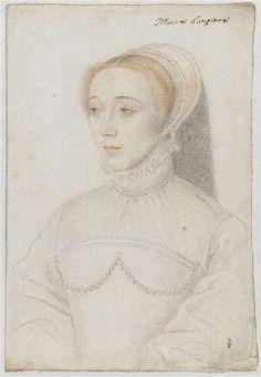 """1550 -Jeanne de Vivonne, dame de Clermont, baronne de Dampierre -(*1511+1583)???sister of Francois Vivonne Seigneur Chataigneraie*1520+1547 killed by Coup de Jarnac in duel with Guy I.Chabot-Jarnac)wife of Claude de Clermont (????-1545), baron de Dampierre they only child was Claude Catherine de Clermont""""Marèchale Retz""""*1543 Paris+1603 Paris/Maison Clermont Tonnere /Duchesse de Retz+Dame Machecoul(by 1.husband)+peer+Dame de Vivonne+Dampierre / School of Jean Clouet"""