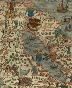Detail of Russian Lapland and Norway, Carta Marina Olaus Magnus 1555 Old Maps, Antique Maps, Vintage Maps, Medieval, Early Middle Ages, Map Globe, Fantasy Map, Nautical Art, Viking Age