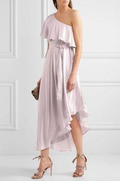 Zimmermann - One-shoulder Ruffled Silk Midi Dress - Lilac -
