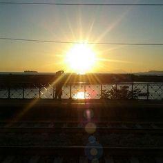 Waiting for the train - big sun