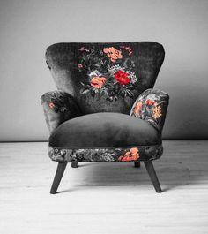 Dark floral armchair