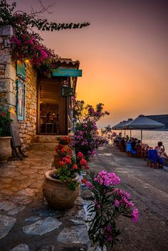 Taverna by the sea, Limeni, Mani, Greece partez en voyage maintenant Places Around The World, Oh The Places You'll Go, Travel Around The World, Places To Travel, Places To Visit, Around The Worlds, Travel Stuff, Wonderful Places, Beautiful Places