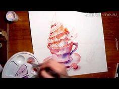 Как нарисовать пирожное акварелью! #Dari_Art - YouTube